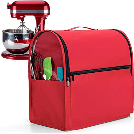 Luxja Dust Cover for 6-8 Quart KitchenAid Mixers (with Clear Side Zipper Pockets), Dust Cover with Top Handle for 6-8 Quart Stand Mixers and Extra Accessories, Red