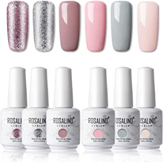 ROSALIND 15ml Esmaltes Semipermanentes de Uñas en Gel UV LED Nude Pink Series 6 Colors Diseño de uñas Gift Box