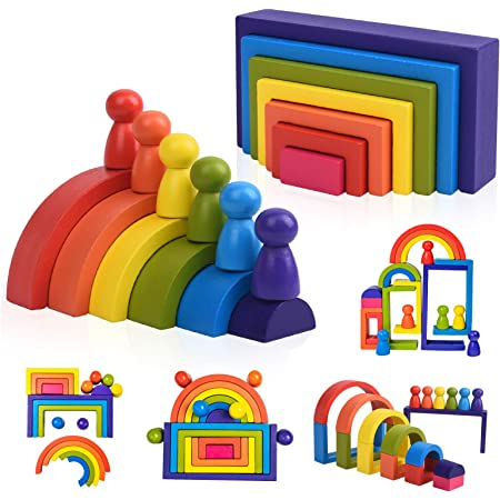 SHIERDU Childrens Wooden Building Block Train Toy Shape sorter and Stacking Game for Toddlers Montessori Benefit Intellectual pre-School Education Pull Toy