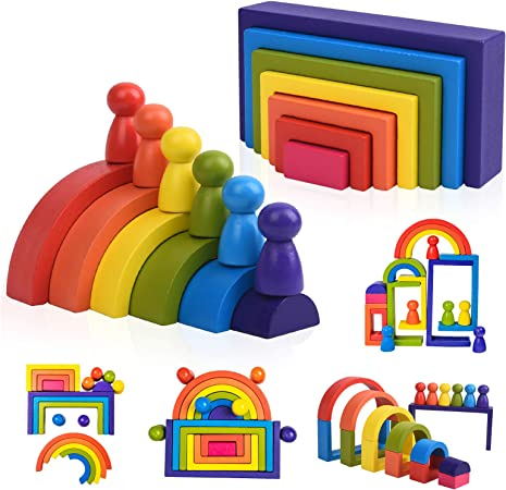 Wooden Rainbow Stacking Game Learning Toy Geometry Building Blocks for Toddlers Age 3 4 5 6 Years Old Creative Color Shape Matching Preschool Activity Educational Jigsaw Gifts