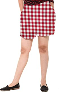 EASY 2 WEAR ® Women Cotton White/Red Checks Shorts (Sizes XS to 4XL)