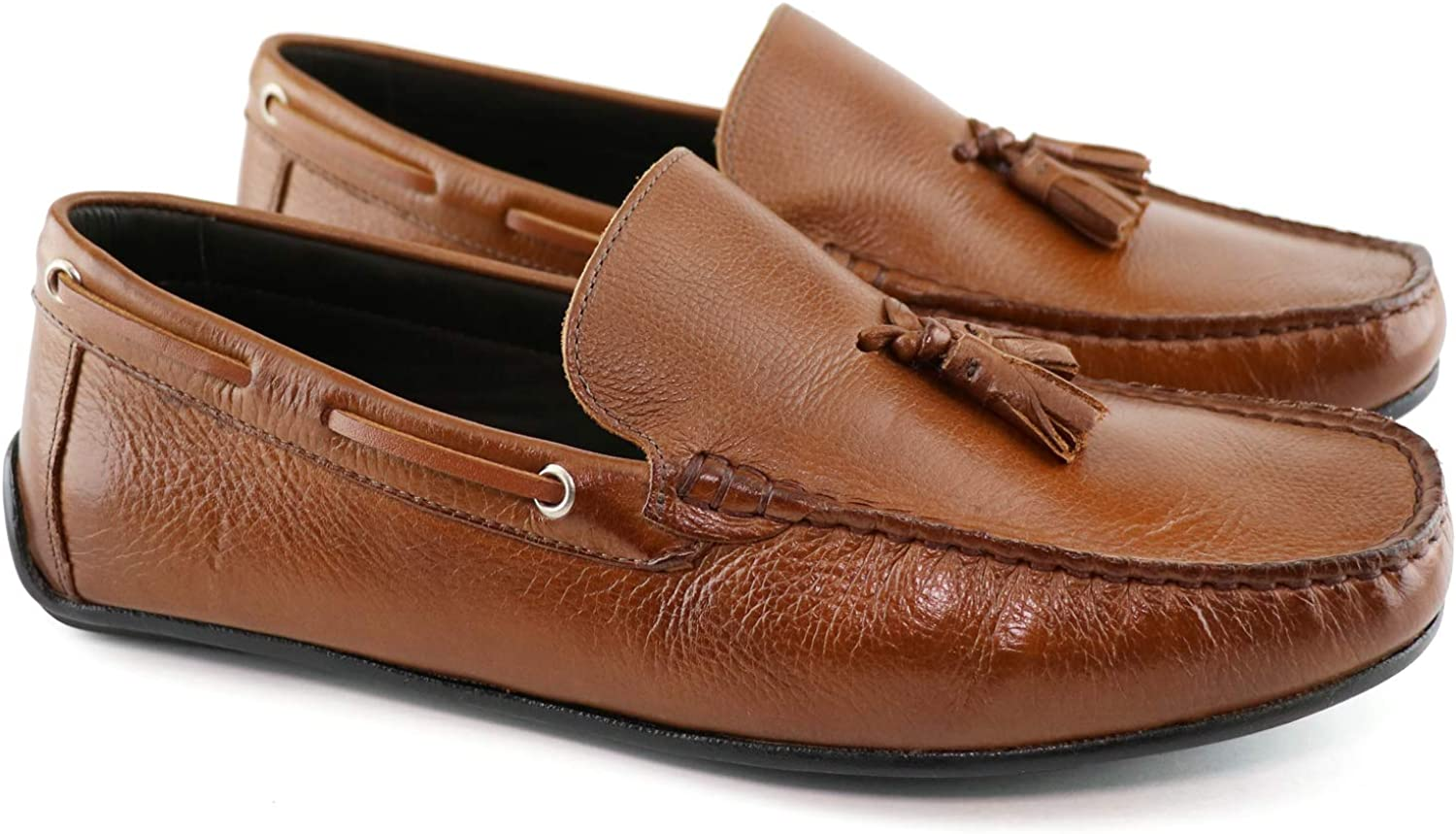 MJNY Mens Casual Comfortable Genuine Leather Lightweight Driving Moccasins Classic Fashion Tassel Loafer Slip On Breathable Driving Loafer