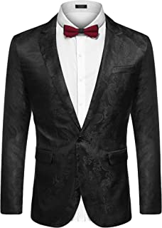 COOFANDY Men's Paisley Dress Suit Lightweight Stylish Slim Fit Jacket Blazer for Prom Dinner Party