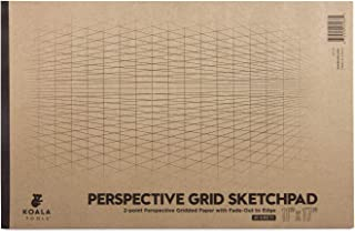 """Koala Tools   Drawing Perspective (2-Point) Large Sketch Pad   11"""" x 17"""", 40 pp. - Perspective Grid Graph Paper for Interi..."""