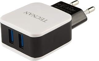 Tecnan nätadapterladdare med 2 USB-portar laddningskontakt kompatibel med Samsung S6 S7 S8 S9 Note 8, Iphone 6 7 8 Plus X ...