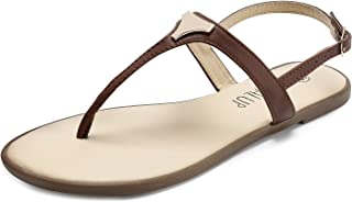 Flat Thong Sandals with Triangle Metal for Women