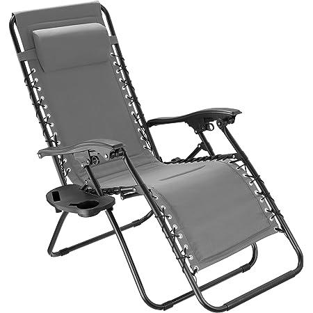 TecTake 800885 Chaise Longue Toile Tendue Pliable avec Rembourrage de Tête Amovible - Diverses Couleurs - (Gris)