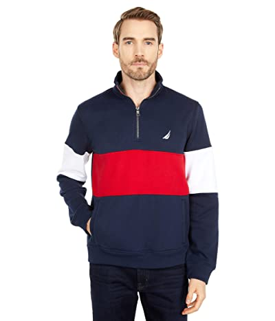 Nautica Color-Block 1/4 Zip Fleece Sweater (Navy) Men