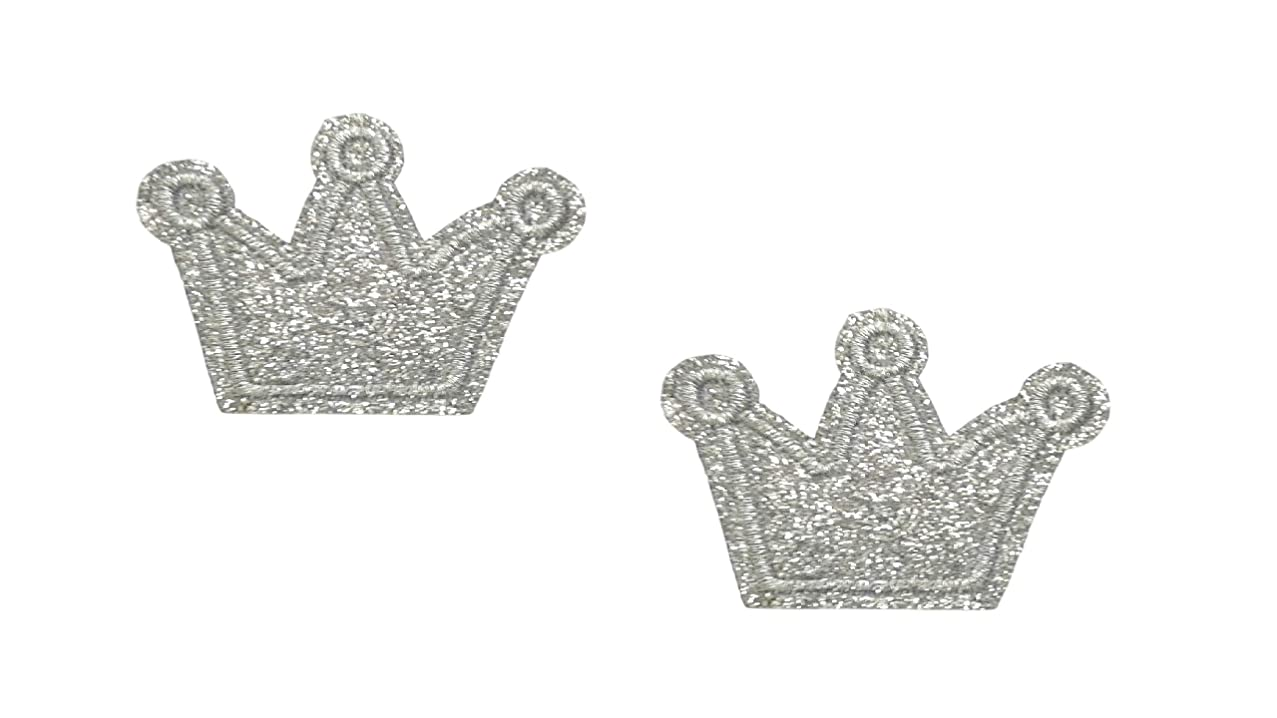 2 Pieces Crown Iron On Patch Fabric Children Motif Applique Princess King Queen Scrapbooking Decal 1.97 x 1.38 inches (5 x 3.5 cm)