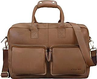"""STILORD Henri"""" Bürotasche Leder 15,6 Zoll Vintage Laptop Aktentasche Businesstasche Umhängetasche Lehrertasche Büffelleder"""