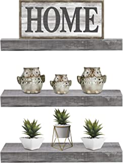 Sorbus Floating Shelf Set — Rustic Wood Hanging Rectangle Wall Shelves — Perfect for Home Décor, Trophy Display, Photo Frames, and More (3-Pack, Grey)