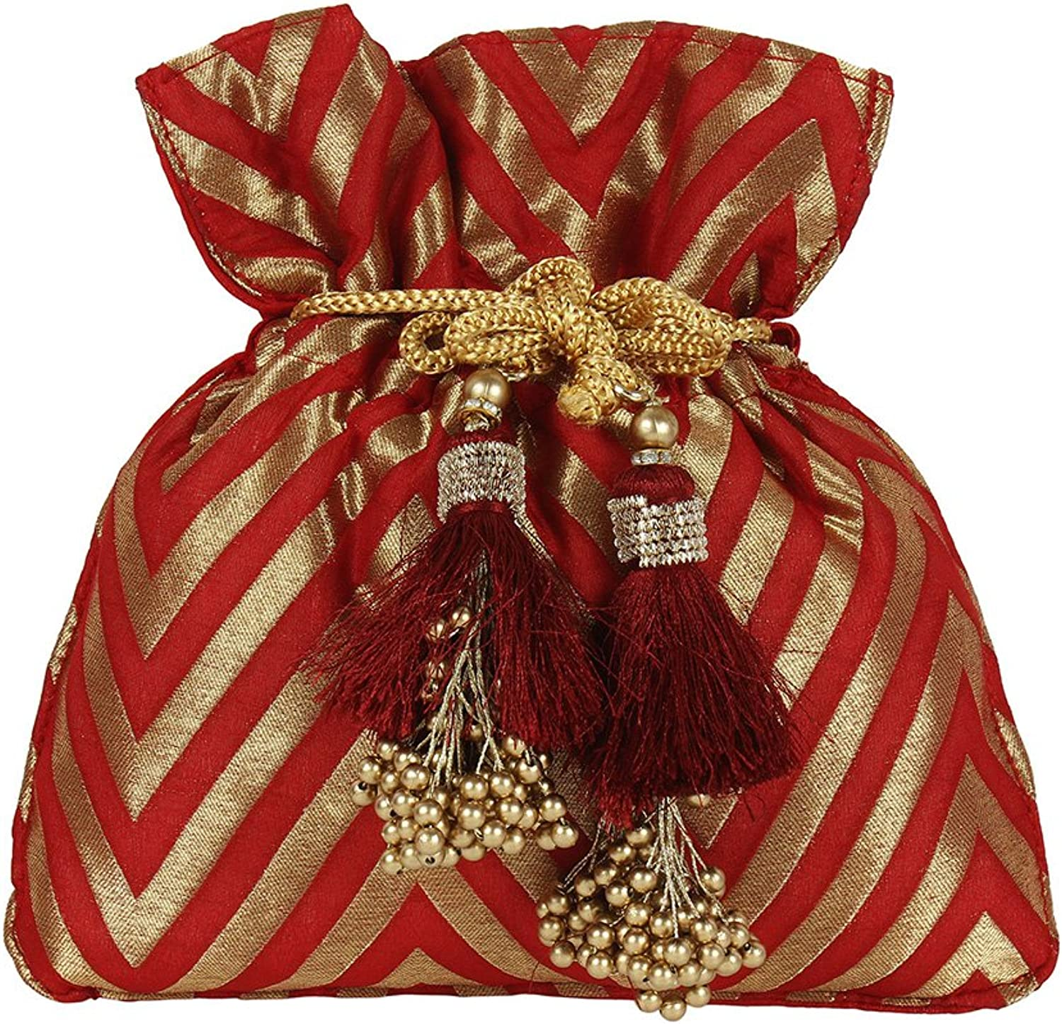 Purse Collection Beautiful Traditional Indian Designer Red Colured Polti Purse For Womens