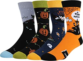 Men's Novelty Funny Halloween Crew Socks, Crazy Weird Alien Bigfoot Pumpkin