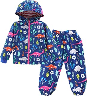 LvRao Kids Girls Outdoor Clothing Sets Animal Print Floral Waterproof Raincoat Windproof Jacket and Trousers