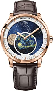Agelocer Men's Top Brand Genuine Blue Moon Phase Mechanical Masculine Fashion Luxury Wrist Watch 6401D2 (6401D2 Gold New)