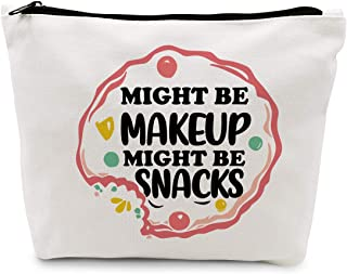 Ihopes Funny Makeup Cosmetic Bag Cotton Zipper Pouch   Cute Might Be Makeup Might Be Snacks Cosmetic Travel Bag Toiletry M...