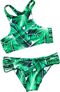 Women's Tropical Leaves Printing Tank Padding Bikini Set