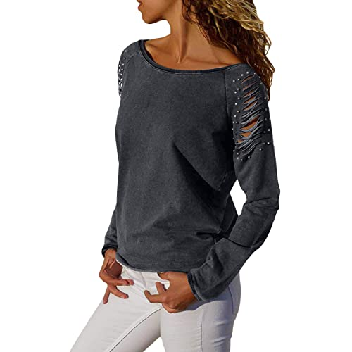 09203ea3cdc9c Asvivid Womens Casual Strappy Cold Shoulder Long Sleeve T-Shirt Tops Blouses  with Pearl Beaded