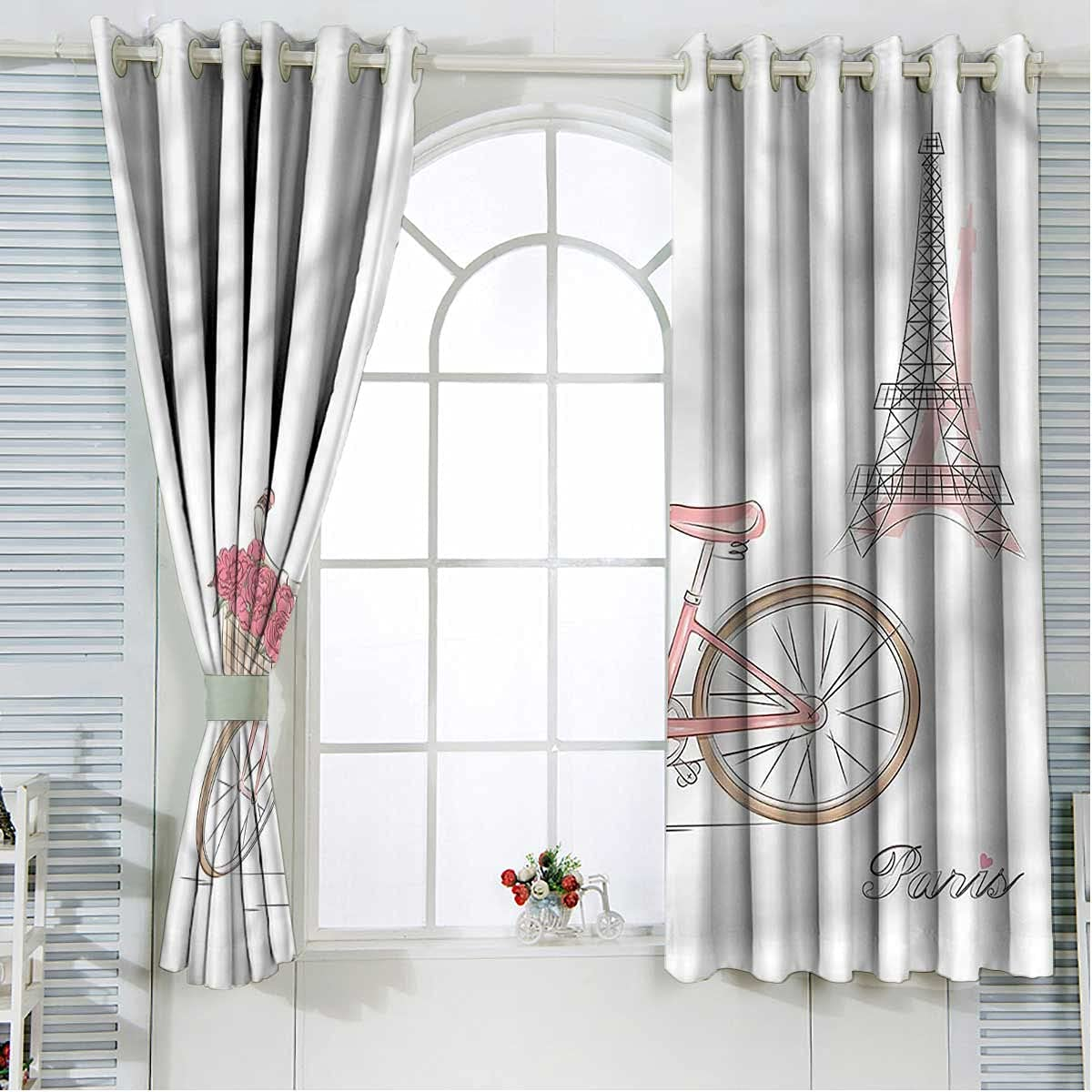 Ranking TOP16 Vintage Kids Blackout Curtains 63 Eiffel Bicyc Length low-pricing Inch Tower