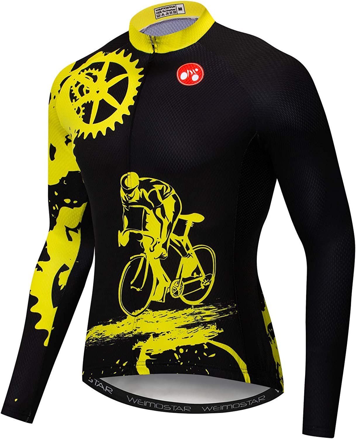 Weimomonkey Cycling Jersey Men's Breathable Long Sleeve Reflective Bicycle Shirts MTB Tops