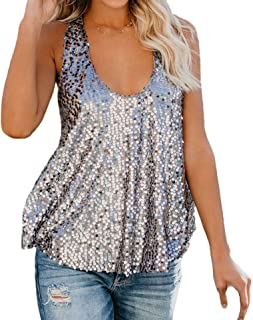 Tops & Tees Summer Women Camis Tank Tops Sexy Glitter Oversize Solid O-neck Strappy Sequined Sparkle Cami Swing Clubwear 2019 New Without Return