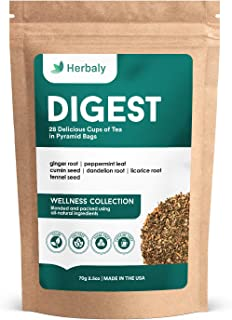 Herbaly Digest Tea - Aids Digestion | Detoxifying | Calms Stomach | Soothing