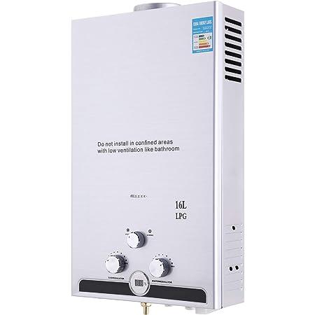 Z ZELUS 16L Calentador de Agua LPG Calentador de Agua Instantáneo 32KW Calentador de Agua de Gas Licuado de Petróleo sin Tanque (16L)