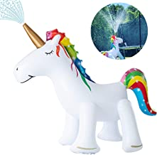 XGEAR Large Inflatable Unicorn Yard Sprinklers, Outdoor Sprinkle and Splash Play,Lawn Sprinkler, Summer Inflatable Water Spray Toy ,Fun Play Games for Kid Child Adult