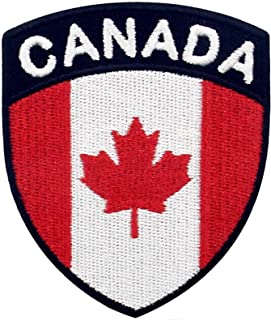EmbTao Canada Flag Shield Patch Embroidered National Morale Applique Iron On Sew On Canadian Emblem
