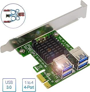 Tarjeta PCI-E Riser, el más Nuevo 1 a 4 PCI-E Riser Extender para Bitcoin Litecoin Eth Coin, PCIe 4 en 1 PCI-E Riser Adapter Board USB 3.0 PCI-E Adapter - Ethereum Mining Eth