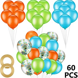 60 Pieces 12 Inch Orange Light Blue Fruit Green Latex Balloons with Confetti Balloon,Dinosaur Balloons and Ribbon for Jungle Jurassic Birthday Party Decorations Supplies