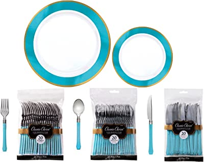 Premium Border Tableware Kit w/Plates & Cutlery for 20 Guests (Caribbean Blue)
