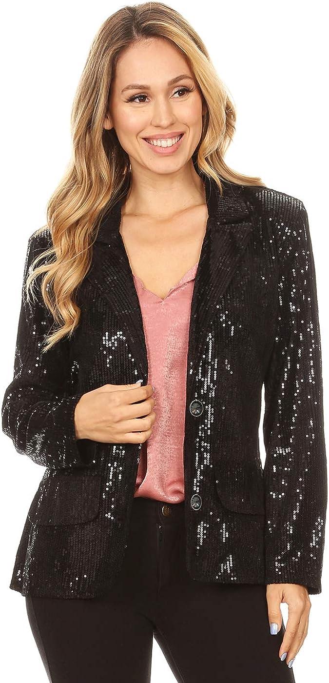 Anna-Kaci Women's Evening Sparkle Sequins Open Front Long Sleeve