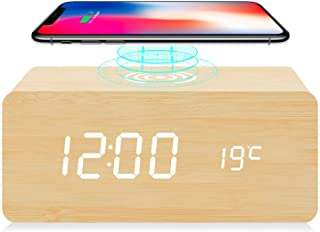 fomobest Wooden Alarm Clock with Wireless Charging for iPhone Samsung, Wood Digital LED Desk Clock for Bedroom, 3 Alarm Settings, Sound Control, Adjustable Brightness, Time Temperature (Bamboo)