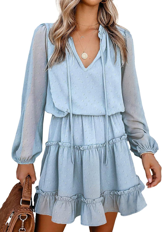 Ecrocoo Women's Mini Dress Casual High Neck Summer Beach Dress Loose Flowy Swing Shift Dresses Tunic