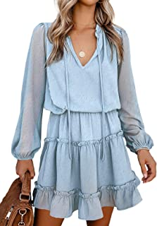 Happy Sailed Womens V Neck Sleeveless Drawstring Ruffle Tiered Chiffon Swing Mini Dresses(S-XL)