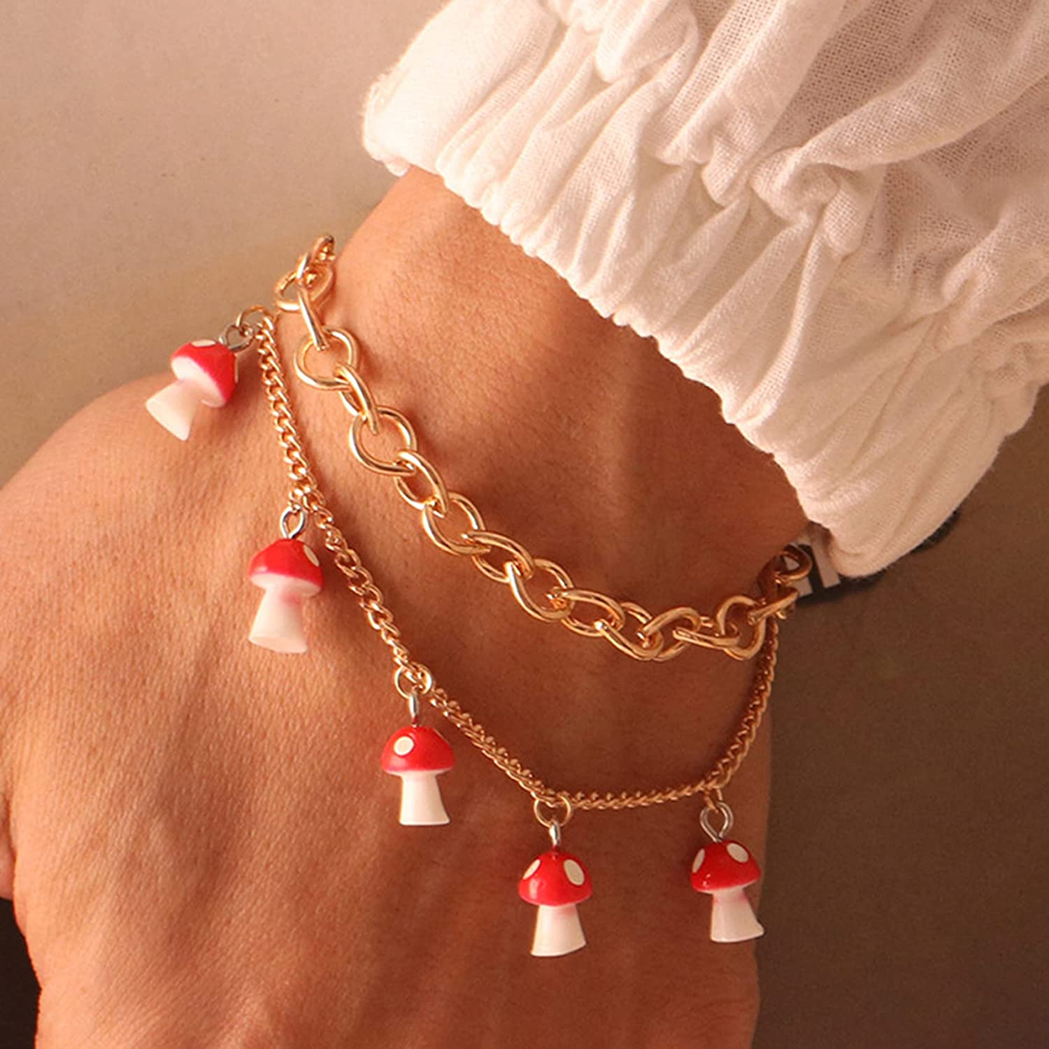 Underleaf Women's Link Opening large release sale Charm Layered Popular brand in the world Ankl Bracelet