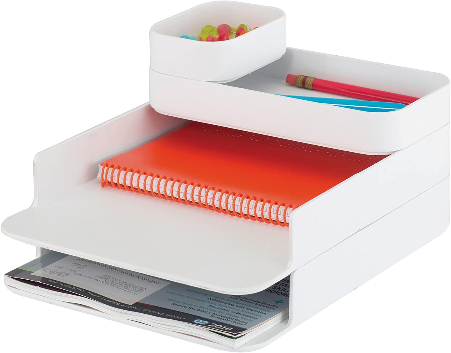 Safco Products 3285WH Max 62% OFF Stacking Plastic Ranking TOP2 Desktop White Set Sorter