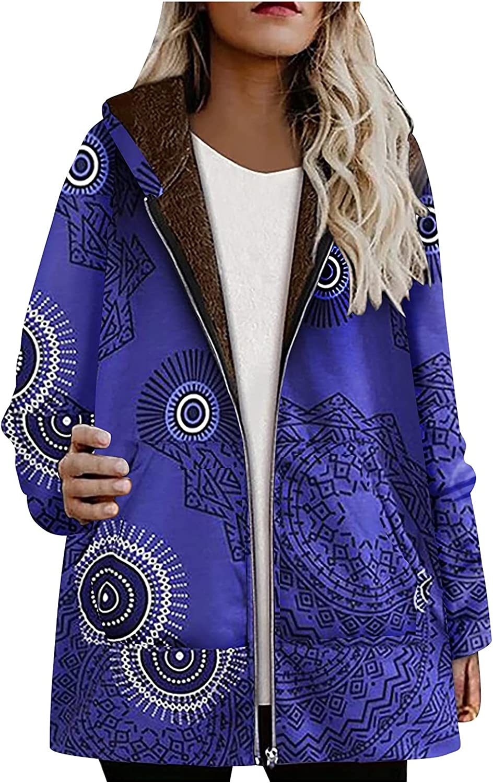 SERYU Women Vintage Floral Hooded Coat Winter Plus Size Thicken Sherpa Fleece Lined Outwear Warm Overcoat