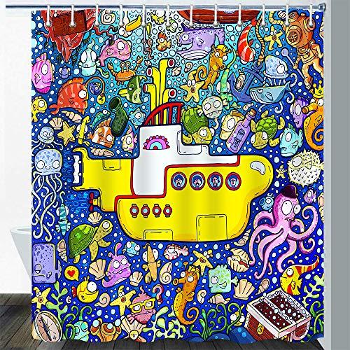Gdmoon Submarine Shower Curtain Marine Underwater Ocean Fish Coral Octopus Starfish Turtle Shell Boat Anchor Kid Cartoon Comic Cartoon Cute Bathroom Curtain Set with 12 Hooks 72 x 72In YLZFGD743