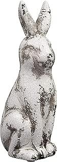 Creative Co-op Ceramic Bunny Rabbit Figurine, Distressed Cream