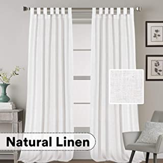 H.VERSAILTEX Natural Effect Extra Long Curtains Made of Linen Mixed Rich Material, Tab Top Curtains Pair Window Curtains/Drape/Panels for Bedroom (Set of 2, 52 by 108 Inch, White)