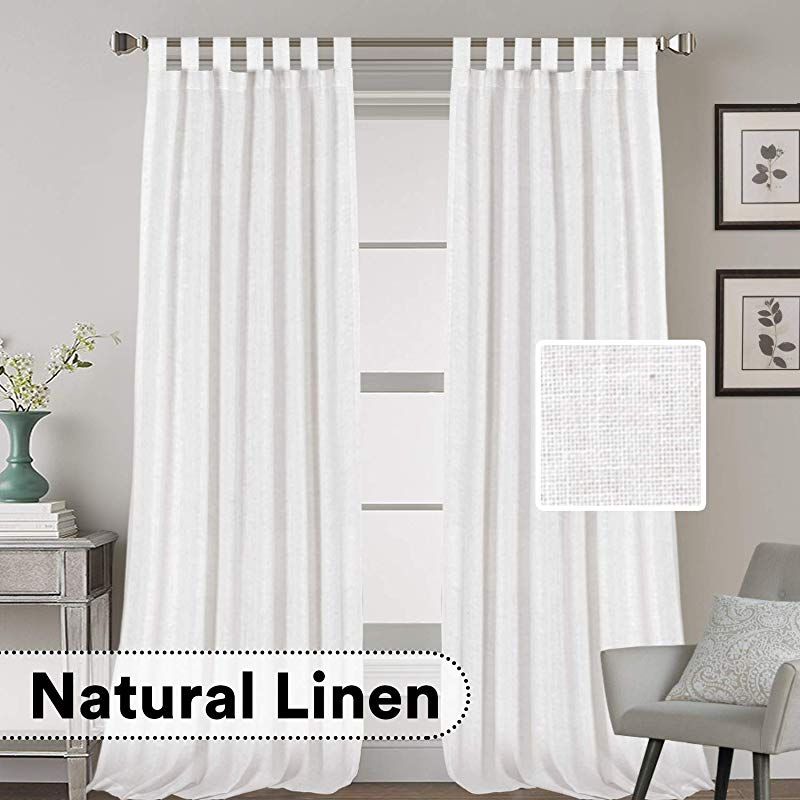 H VERSAILTEX Natural Effect Extra Long Curtains Made Of Linen Mixed Rich Material Tab Top Curtains Pair Window Curtains Drape Panels For Bedroom Set Of 2 52 By 108 Inch White