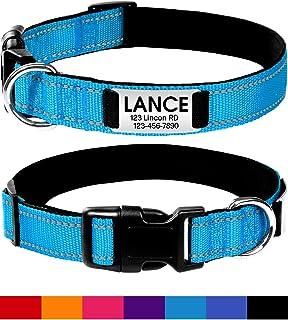 Joytale Personalized Dog Collar with Engraved Slide on ID Tags,Custom Reflective Collars,Hotpink,Black,Purple,Red,Sky Blue,Orange,Dark Blue