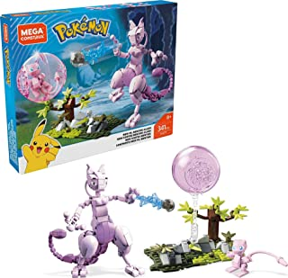 Mega Construx Pokemon Mew vs. Mewtwo Clash Construction Set with character figures, Building Toys for Kids (341 Pieces)