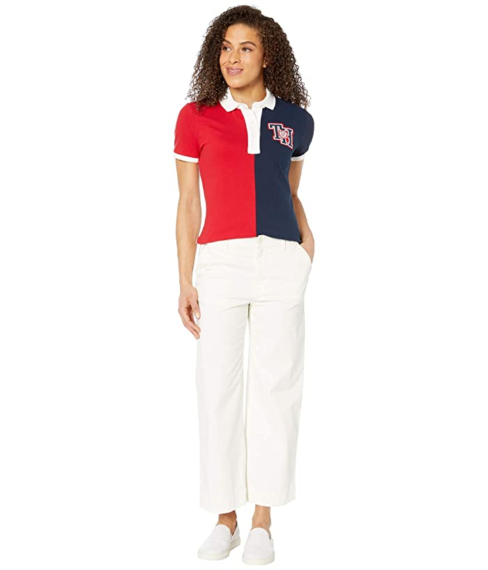Tommy Hilfiger Adaptive  Polo Shirt with Magnetic Buttons (Tango Red/Core Navy/Bright White) Womens Clothing