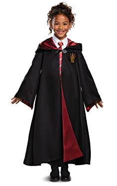Harry Potter Gryffindor Robe Prestige Children's Costume Accessory, Black & Red, Kids Size Medium (7-8)