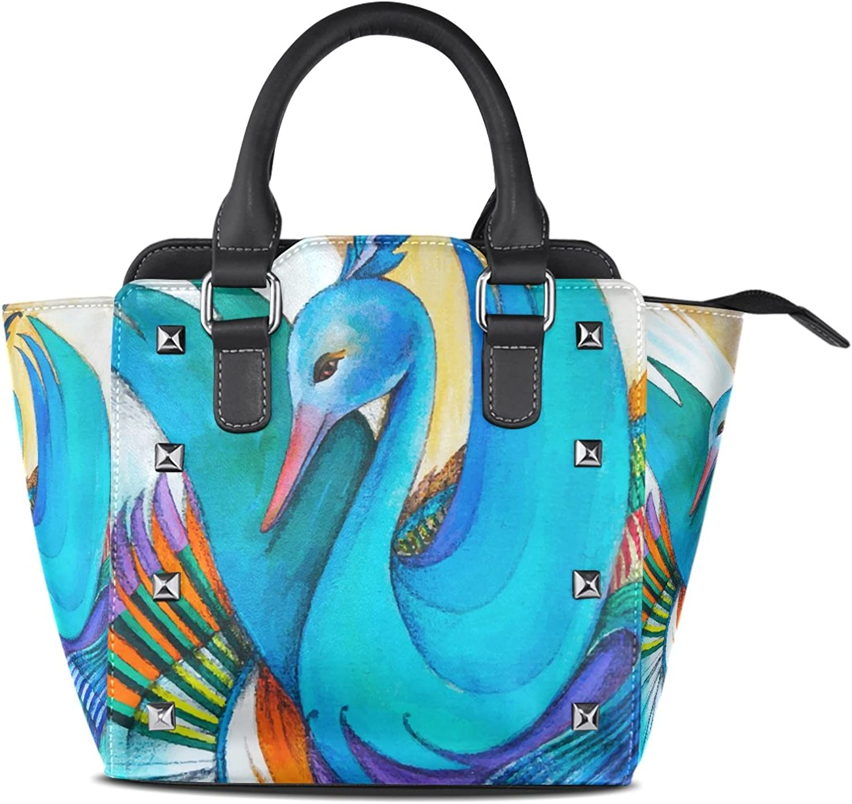 My Little Nest Women's Top Handle Satchel Handbag colorful Swan Ladies PU Leather Shoulder Bag Crossbody Bag