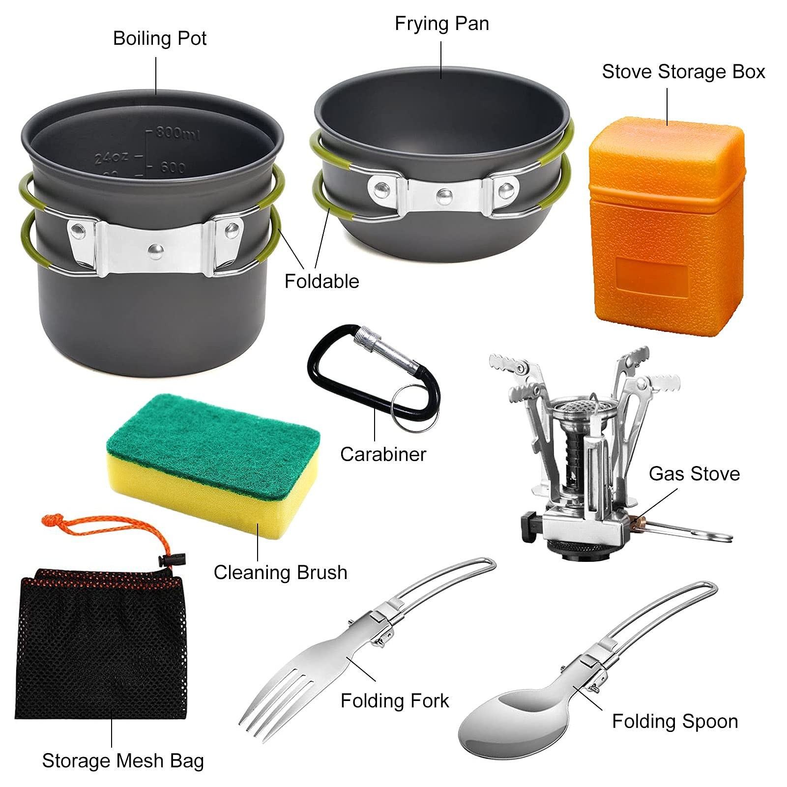 AUTOPkio Camping Cooking Set, Outdoor Camping Pans Pots and Stove - Non Stick Folding Cookware Kit for BBQ Picnic Hiking Backpacking Travel 1-2 Person Use