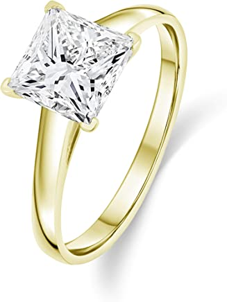 Buy Jewels 14k Gold Solitaire Princess Cut AAA+ Quality Swarovski Cubic Zirconia Engagement Ring
